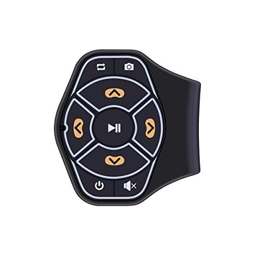ONEVER Bluetooth inalámbrico Volante Controlador Remoto Medios Botón del Mando a Distancia Multimedia MP3 de Reproducción de música para Android iOS Smartpgone Coche de la Tableta Motocicleta