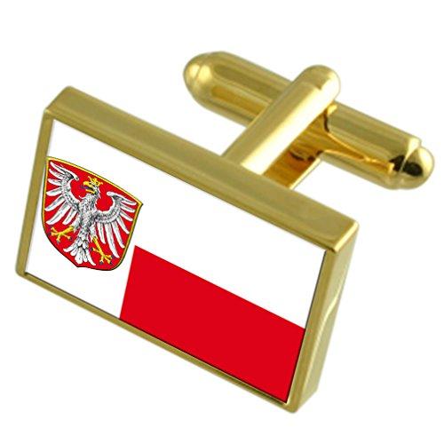 Frankfurt am Main Stadt Deutschland Gold Manschettenknöpfe graviert Box