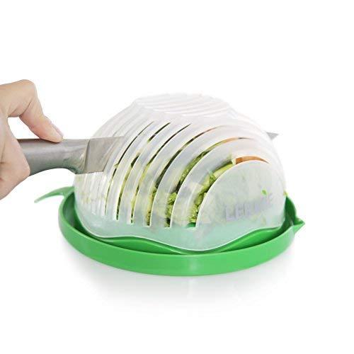 lermie Salat Cutter Schüssel: 60zweite Salat Maker, einfach und schnell Gemüse Chopper und Schneide für Gemüse, Salat und Obst, Schneidebrett, Sieb und Dicer All-in-1, Spülmaschinenfest-BPA-frei -