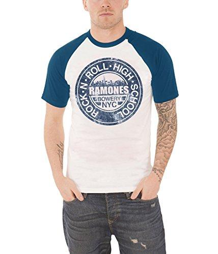 Ramones T Shirt Bowery NYC Band Logo offiziell Herren Weiß Raglan Baseball T - Nyc Womens Raglan Hoodie