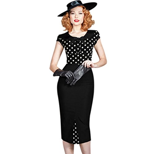 Robe de Rockabilly Pin Up Wiggle Crayon 40s 50s Style Vintage Noeud Polka