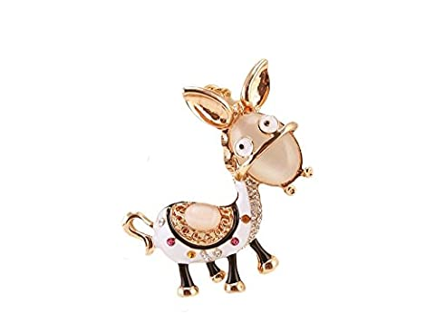 Key Ring Keychain Jewelry Luxury Clear Rhinestone Charm Pendant Baudet/Donkey AC and Multi-Coloured with 14 K Gold Plated Black And White Enamel,