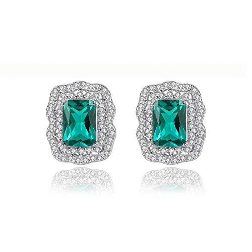 MNGGNM Orecchino smeraldi per orecchini da donna con brillanti orecchini a doppia corona in zircone, gioielli in argento 925