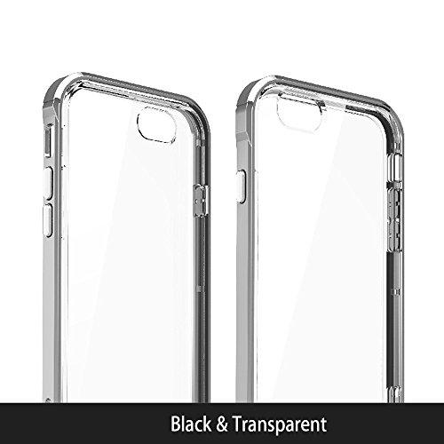 Custodia iPhone 7, Kingland Cover Protettivo in TPU Silicone Morbida + PC Bumper, Case Trasparente Slim Anti Scivolo Antiurto per iphone 7, Argento Nero