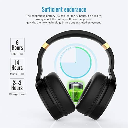 Meidong Duale Aktive Noise Cancelling Kopfhörer Bluetooth, Noise Cancelling Headphone overear Kabellose Kopfhörer mit Mikrofon HiFi Stereo Deep Bass Gemütlich Earpads bis zu 20 Std [Schwarz] - 10