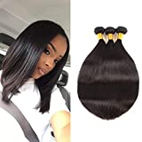 Huarisi 7a Brazilian Hair 3 Bundles Straight 100 Human Hair Short Weaves 8 10 12 Inch Mixed Length Extensions Thick for Full Head