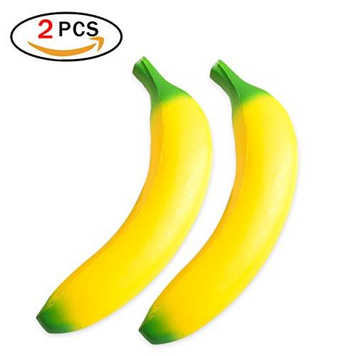 Funkun 2pack Banane Squishy Toys Stress Reliever für Kinder und Erwachsene Langsam aufsteigende Creme Scented Soft Toys (2pack Banana) (Reliever Creme)