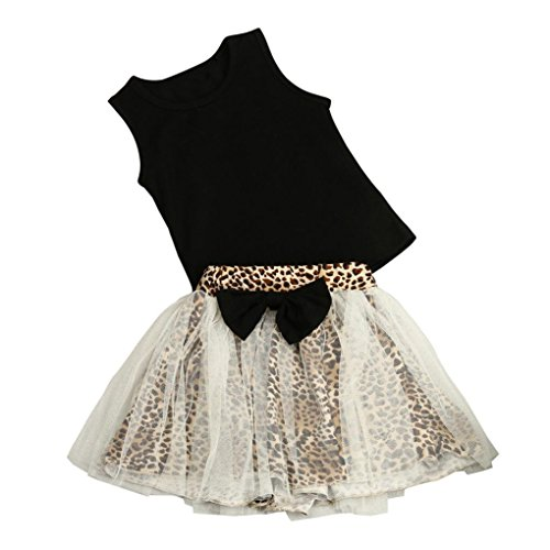 Sommer Kinder Mädchen Kleid, Bekleidung Longra Baby Kinder Mädchen Outfit Kleidung Vest t-shirt + Leopard Short Rock Set(1-6Jahre) (120CM 5-6Jahre, Black) (Leopard Stretch-satin)