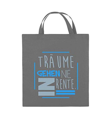Comedy Bags - Träume gehen nie in Rente. - Jutebeutel - kurze Henkel - 38x42cm - Farbe: Dunkelgrau / Eisblau-Blau (Gestrickte Tank Träume)
