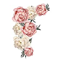 Outivity Flowers Wall Sticker Peony Rose, Waterproof PVC Wall Decals Flowers for Sofa Background Living Room Bedroom Kitchen Nursery Room Decorations (L)