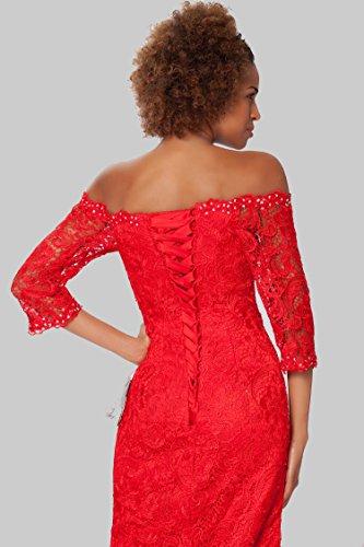 SEXYHER Elegantes 1/2-Arm Spitzenkleid Perlen - EDJ1570 Rot