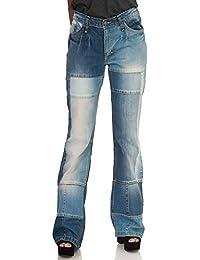 Comycom Damen Patchwork Flicken Jeans mit kleinem Schlag