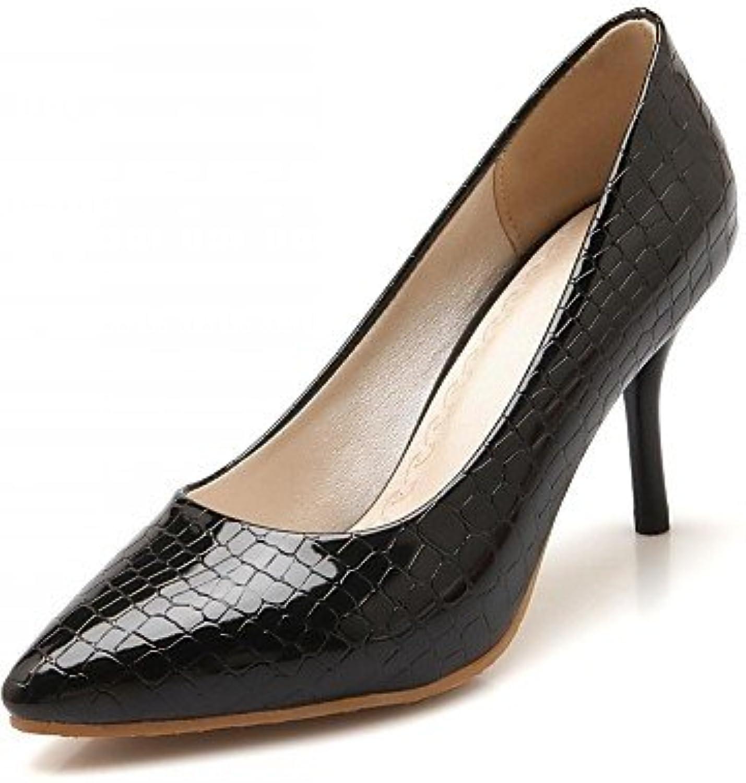 ZQ Zapatos de mujer-Tac¨®n Stiletto-Tacones-Tacones-Oficina y Trabajo / Vestido / Casual-Microfibra-Negro / Rojo...