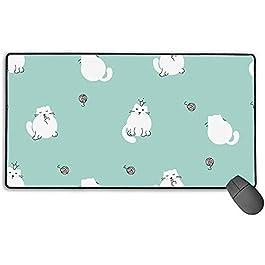 Simpatici gattini senza cuciture del gattino bianco su tappetino per mouse da gioco, tappetino da scrivania con tappetino per mouse grande allungato, tappetini per top in gomma antiscivolo lunghi