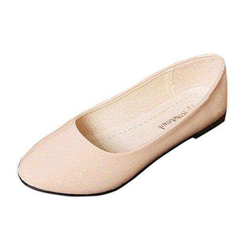UFACE Candy Farbe Kleine Schuhe Professionelle OL Flachen Sandalen Frauen Damen Slip on Flache Schuhe Sandalen Casual Bunte Schuhe Größe (42, Beige)
