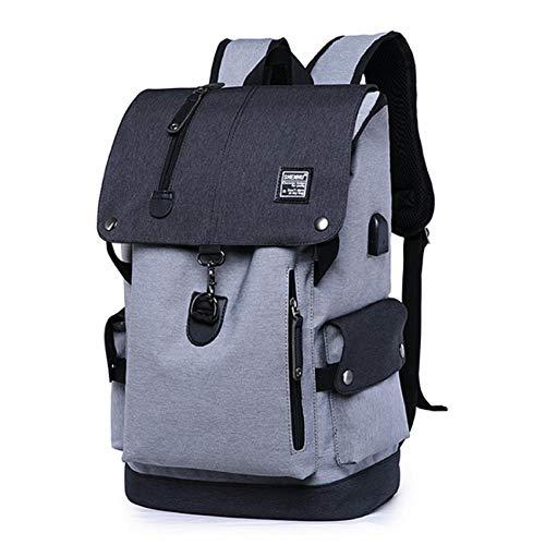 WMYQQLX Rucksack Männer USB-Laderucksack Laptop mit großer Kapazität Teenager-Schultasche Männlicher Reiserucksack Freizeitrucksack, Grau - 2125 Usb