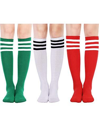 Tatuo 3 Paar Lange Gestreifte Socken Knie Oberschenkel Hohe Besatzdichte für Damen Mädchen Halloween Geburtstagsparty (Farbe Set 4)