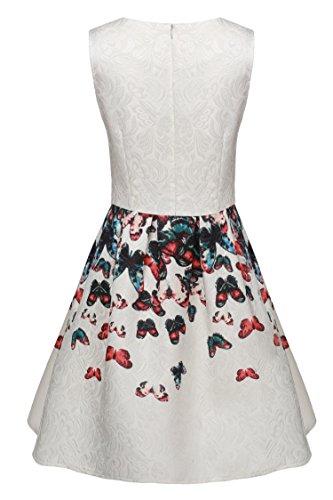 CRAVOG Damen Minikleid Partykleid Blume Abendkleid Cocktailkleider Ballkleider Dunkelblau