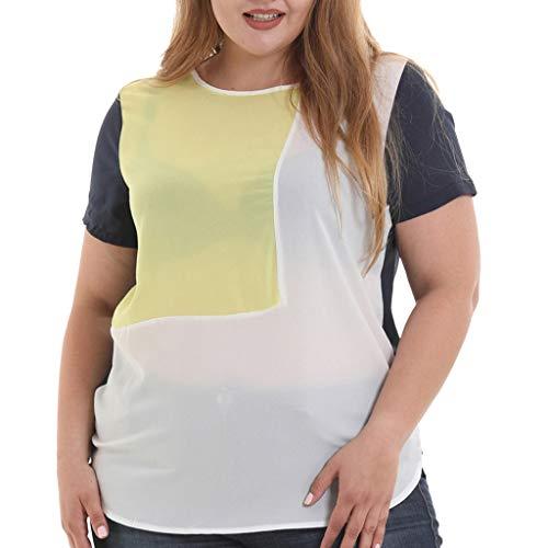 (Andouy T-Shirt Top Frauen Kurzarm Raglan Farbblock Plus Size Gr.36-52 Oansatz Solide Damen Slouch Bluse Übergroß(L(40),Gelb))