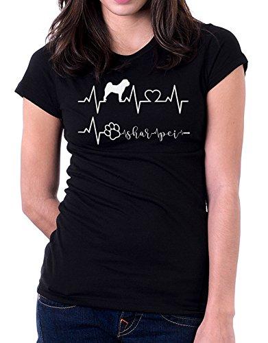 Tshirt Elettrocardiogramma Shar Pei - I love Shar Pei - cani - dog - love - humor - tshirt simpatiche e divertenti Nero