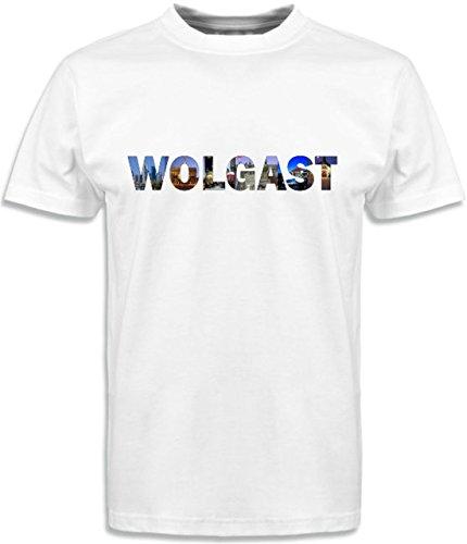 T-Shirt mit Städtenamen Wolgast Weiß