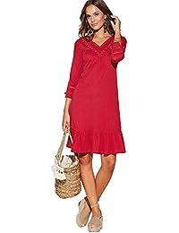 VENCA Vestido con pasamería y borlas en el Escote Mujer by Vencastyle - 024241