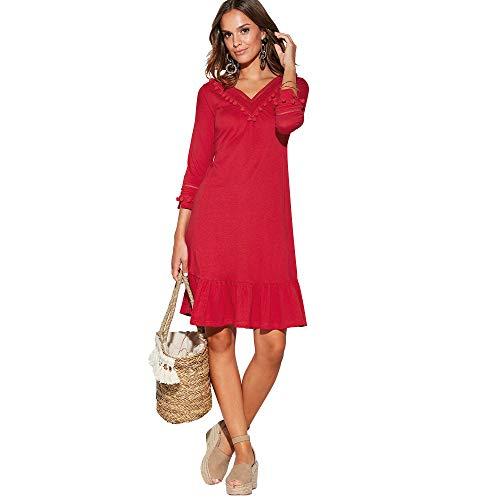 VENCA Vestido con pasamería y borlas en el Escote Mujer by Vencastyle - 024241,Rojo,M