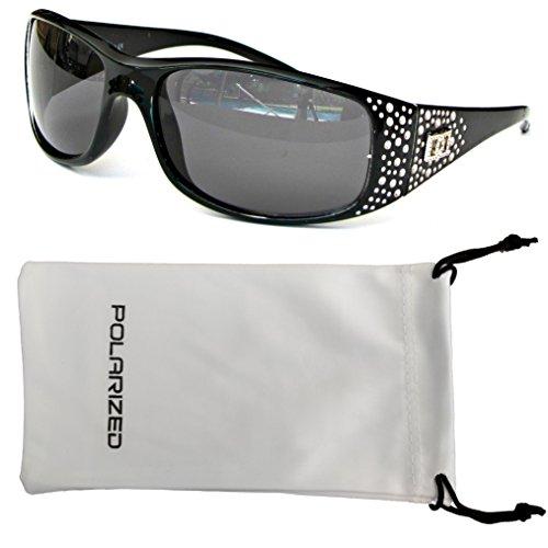 VOX Frauen polarisierte Sonnenbrille Designermode Brillen kostenlos aus Mikrofaser Beutel – Schwarzes Bild - getöntes