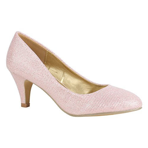 Klassische Damen Schuhe Pumps Stiletto Absatz Abend Leder-Optik 156102 Rosa Metallic 38 ()
