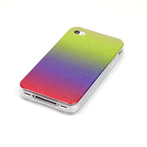 iPhone 4S Hülle Weiches Silikon Glitzer Schutzhülle Tasche Case,iPhone 4 Hochwertig Leicht Gummi Schutz Hoch Handyhüllen Schale Etui,Herzzer Modisch Luxus Silikon Bunt Hülle [Farbverlauf Gradient Farb Lila und Rot