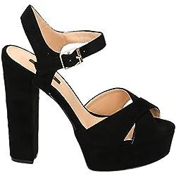 Damen Riemchen Abend Sandaletten High Heels Pumps Slingbacks Velours Peep Toes Party Schuhe Bequem 07 (37, Schwarz)