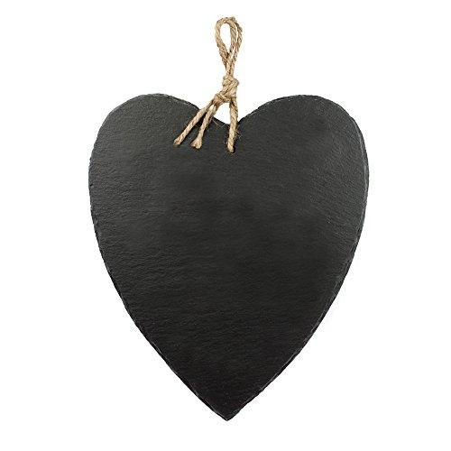 Casa Vivente Schiefer-Herz mit Juteband, Türschild zum Aufhängen, Wand-Deko im Shabby Chic, Geburtstagsgeschenk