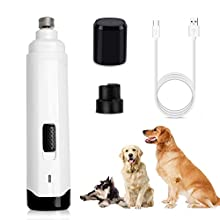 Professional Dog Nail Grinders, Electric Pet Nail File, Rechargeable and Portable Nails Trimmer Clipper, Low Noise 2 Speeds Fast Grinding for Large Medium Small Dogs Claw Care (3 Ports, USB Wire)