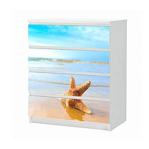 Set Möbelaufkleber für Ikea Kommode MALM 4 Fächer/Schubladen Seestern Strand Sand Urlaub Meer Aufkleber Möbelfolie sticker (Ohne Möbel) Folie 25B289