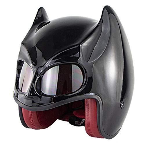 Wwtoukui Casco de Moto Negro Cool Bat