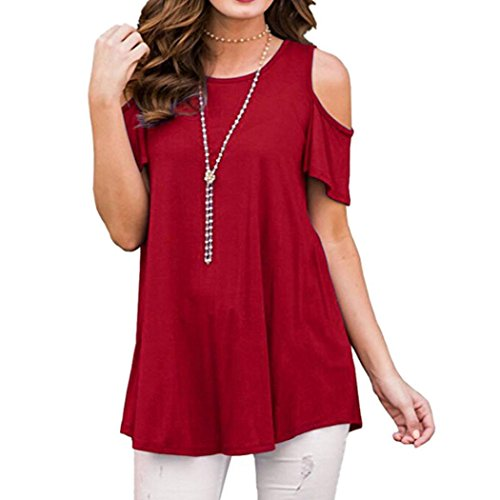 KaloryWee Womens Cold Shoulder Short Sleeve Tunic Tops Casual Loose Blouse Shirts