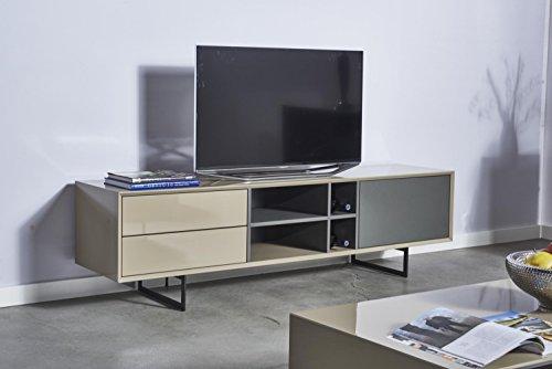 TV Schrank TITRAN Modernes TV Lowboard In Taupe Beige Hochglanz U0026 Anthrazit  Grau Matt