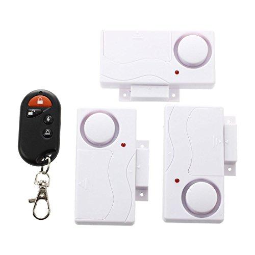 Sonline 3 piezas sensor magnetico inalambrico ventana de la puerta de entrada alarma de seguridad con control remoto
