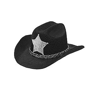 Widmann Srl Mini gorra Cowboy con Estrella de Sheriff de fieltro Negro, tapas y solideos para Adultos, Multicolor, wdm68570
