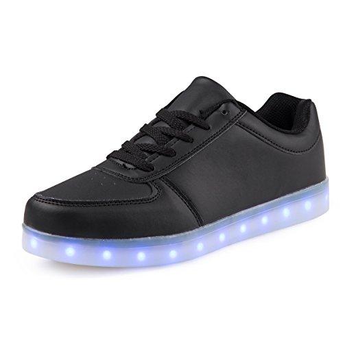 AFFINEST USB Charging 7 Farben LED Schuh für Kinder Männer & Damen Schuhe blinken Turnschuhe (EUR39, Schwarz)
