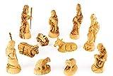 Krippenfiguren klassischer BETHLEHEM STIL. 11-teilige Holzkrippe handgeschnitzt aus Olivenholz in Bethlehem. Höhe ca. 13 cm.