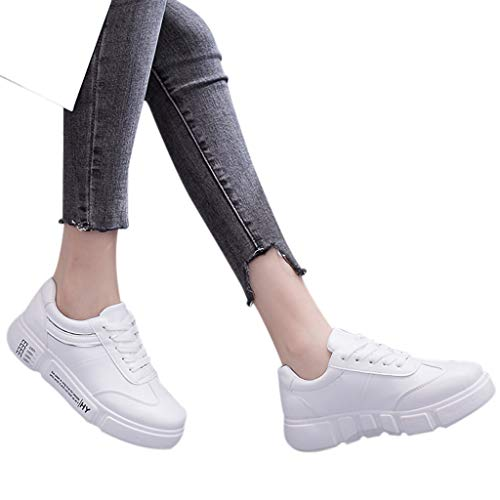 TianWlio Sneaker Frauen Mode Art und Weise Beiläufige Runde Zehe Schnüren Outdoorschuhe Flache Sneaker Sportschuhe Laufschuhe Silver 39