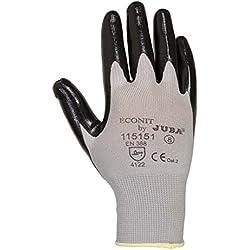 12x pares Juba ECONIT negro mecánico Industrial con recubrimiento de nitrilo guantes de trabajo EPI, Large (9), 12