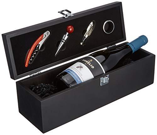 DKDS Collection Wein-Präsentbox aus Holz mit Don Aurelio Tempranillo Rotwein und 4-teiligem Sommelier-Set (1 x 0.75 l)