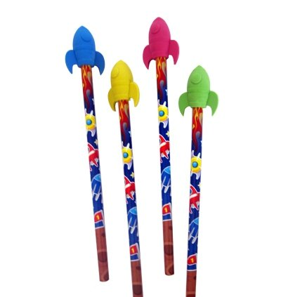 4 Bleistifte * RAKETE * mit Radiergummi für Schule und Kindergarten // Stift Zeichnen Schreiben...