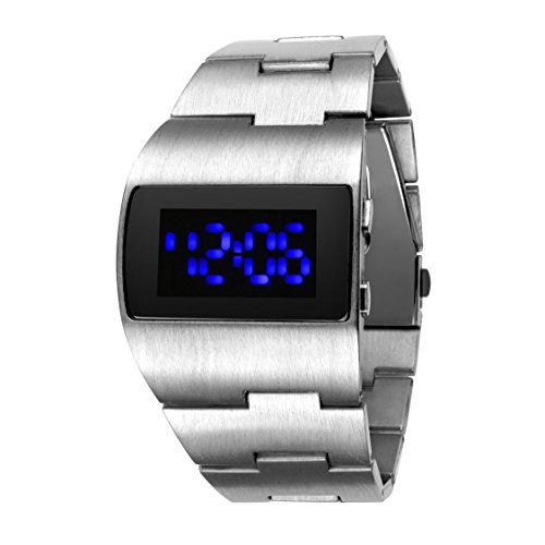 FENKOO-Mens-Futuristic-Blue-LED-Digital-Silver-Steel-Band-Wrist-Watch