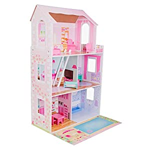 boppi Puppenhaus aus Holz mit 8 Möbelstücken zum Spielen