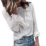 Moda Mujer Casual Encaje Sexy Lunares O Cuello Dulce Volante Camiseta Manga Larga Tops Blusa Luckycat (Blanco, Medio)