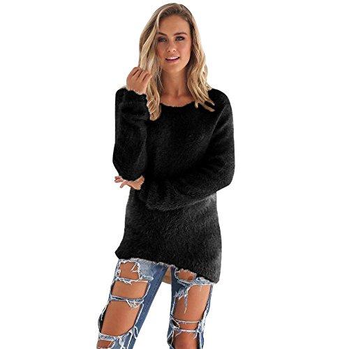 ESAILQ Damen Lässige solide Langarm Tops Pullover Bluse(Medium,Schwarz)