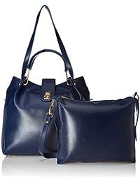 Verobelle Women's Handbag & Sling Bag Combo (Blue) (Set of 2)